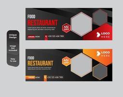 promotion des médias sociaux alimentaires et ensemble de modèles de conception de bannière web vecteur