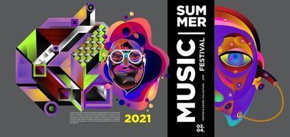 bannière du festival de la musique d'été vecteur