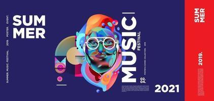 bannière du festival de la journée de la musique d'été vecteur