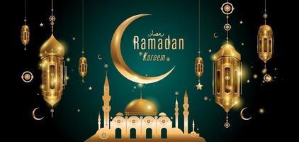 ramadan kareem carte de voeux islamique mosquée dorée vecteur