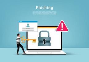 pirate informatique vole le concept de données numériques. compte de phishing avec illustration vectorielle de marque d'avertissement.