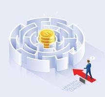 conception conceptuelle de solution commerciale. homme d & # 39; affaires debout à l & # 39; illustration vectorielle labyrinthe. vecteur