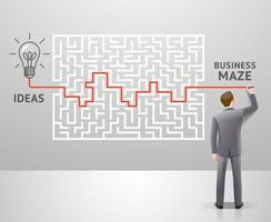 conception de concept de labyrinthe commercial. homme d'affaires avec un labyrinthe pense à une solution au succès. illustrations vectorielles graphiques. vecteur