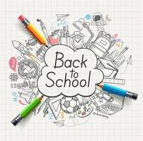 retour aux griffonnages de concept d'école. illustration vectorielle. vecteur