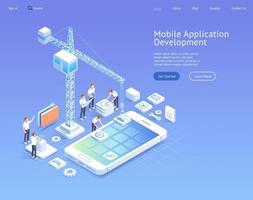 illustrations isométriques vectorielles de développement d'applications mobiles. vecteur