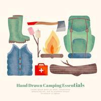 Essentiels de camping dessinés à la main Vector