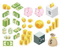 ensemble de symboles d'icône d'argent. vecteur