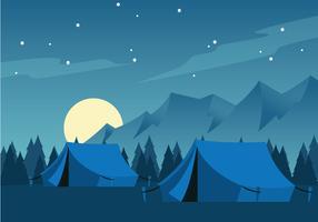 Camping de nuit avec pleine lune vecteur