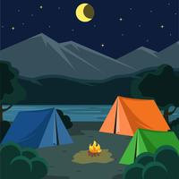 Nuit Illustration vectorielle de camping vecteur