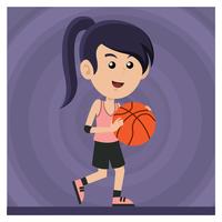 Fille jouant au basketball vecteur