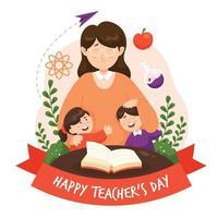 conception de la journée des enseignants heureux vecteur