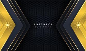 fond noir or moderne avec effet de couches de chevauchement 3d. vecteur