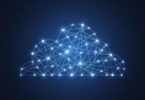 concept de cloud computing. nuage poly faible géométrique. illustration vectorielle. vecteur