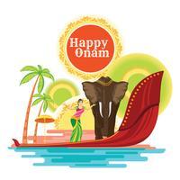 Happy Onam Holiday pour le Festival de l'Inde du Sud vecteur