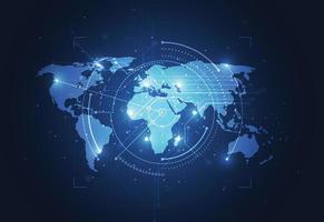 connexion réseau mondiale. concept de composition de point et de ligne de carte du monde du commerce mondial. illustration vectorielle vecteur