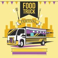 Affiche de festival de camion de nourriture de rue vecteur