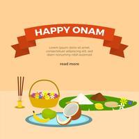 Salutations de vecteur plat heureux Onam