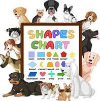 tableau de formes avec de nombreux chiens mignons vecteur