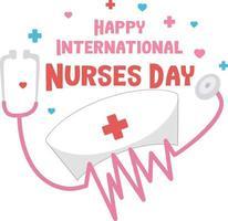 bonne police de la journée internationale des infirmières avec stéthoscope et symbole de la croix
