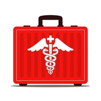 valise médicale rouge avec des médicaments. symbole du caducée. premiers secours. illustration vectorielle plane.