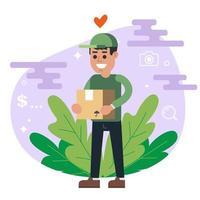 le courrier en uniforme vert livre le colis. homme souriant. illustration vectorielle plane. vecteur