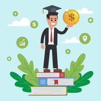 paiement de la formation avancée pour les études à l'université. vecteur