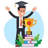 formation. l'obtention du diplôme. gagner le concours. illustration plate du caractère vectoriel. vecteur
