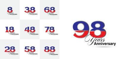 ensemble de numéros de célébration d'anniversaire de 8, 18, 28, 38, 48, 58, 68, 78, 88, 98 ans vecteur
