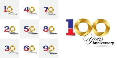 ensemble de numéros de célébration d'anniversaire de 10, 20, 30, 40, 50, 60, 70, 80, 90 ans vecteur