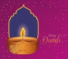 bougie diwali heureux sur une conception de vecteur de fond mandala