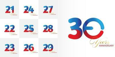 set 21, 22, 23, 24, 25, 25, 26, 27, 28, 29, ensemble de célébration d'anniversaire de 30 ans vecteur