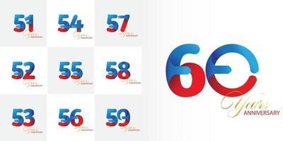 ensemble de numéros de célébration d'anniversaire de 51, 52, 53, 54, 55, 56, 57, 58, 59, 60 ans vecteur