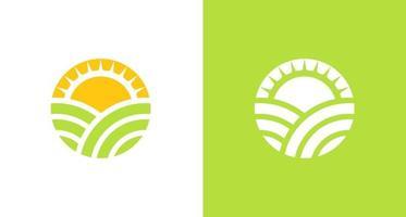 logo de terres agricoles naturelles et biologiques avec élément de brillance du soleil, logo environnemental simple vecteur