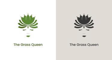 silhouette d'une femme portant la couronne de feuilles, logo de la reine de la nature, vecteur du logo de la reine du cannabis