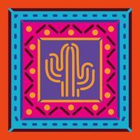 cactus mexicain dans un cadre coloré vecteur