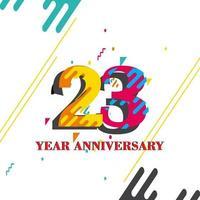 Illustration de conception de modèle anniversaire 23 ans vecteur