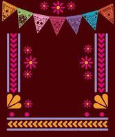 fanion de bannière mexicaine avec conception de vecteur de cadre