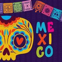 crâne mexicain avec fanion coloré vecteur