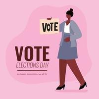 femme noire avec conception de vecteur de bannière de vote