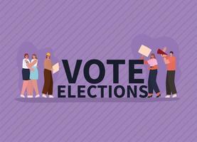 les femmes et les hommes avec des bannières de vote et un mégaphone pour le jour des élections vecteur