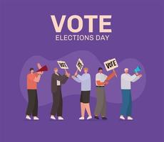 hommes avec des bannières de vote et un mégaphone pour le jour des élections vecteur