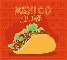 lettrage de culture mexicaine avec dessin vectoriel taco