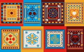 tuiles colorées mexicaines vecteur