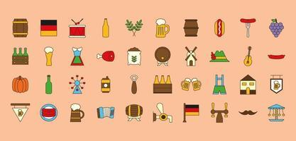ligne oktoberfest et jeu d'icônes de style de remplissage