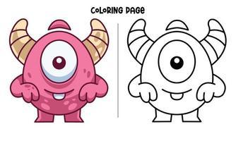 Coloriage drôle de monstre à un œil souriant vecteur