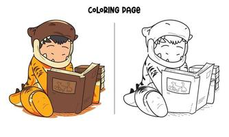 isanosaure lire un livre à colorier vecteur