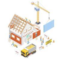 bâtiment de construction de maison. illustration vectorielle. vecteur