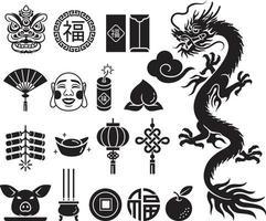 jeu d'icônes de nouvel an chinois. illustrations vectorielles.