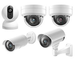 caméras de sécurité à domicile systèmes de surveillance vidéo isolé illustration vectorielle