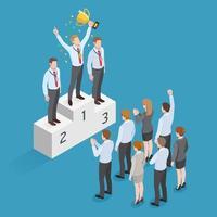 conception de concept isométrique de gens d & # 39; affaires. homme d'affaires gagnant a la médaille d'or debout sur un piédestal tenant une coupe gagnant au-dessus de sa tête avec un groupe de gens d'affaires vecteur